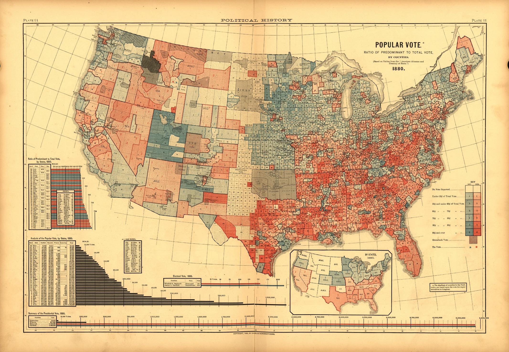 Rysunek 2. Mapa przedstawiająca wyniki wyborów prezydenckich w 1880 r. w USA Źródło: http://www.mappingthenation.com/blog/the-nations-first-electoral-map/