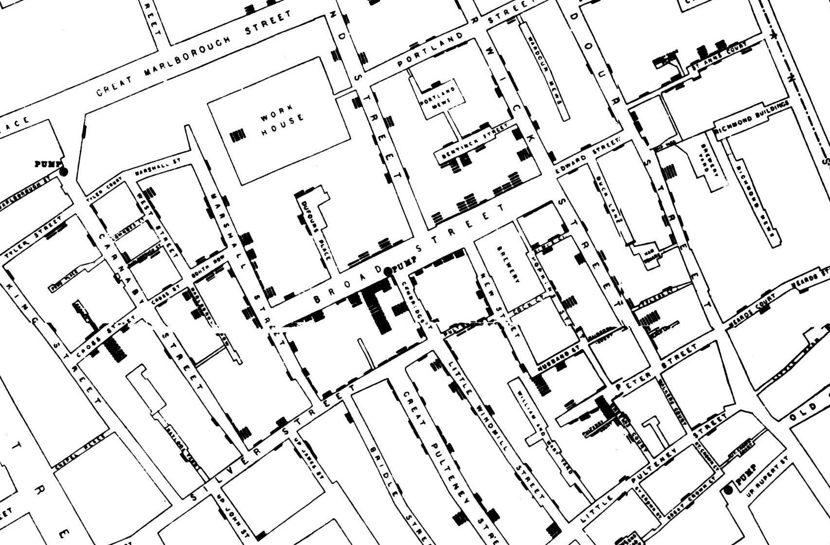 Rysunek 1. Fragment mapy pokazującej zgrupowanie przypadków cholery podczas epidemii w 1854 r. <br> Czarne kreski obrazują zachorowania na cholerę, <br> czerwonymi prostokątami zaznaczono umiejscowienie źródeł wody <br> Źródło: Opracowanie własne na podstawie <br> https://commons.wikimedia.org/wiki/File:Snow-cholera-map-1.jpg