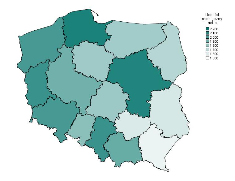 Rysunek 4. Przykładowy kartogram przygotowany w PS IMAGO PRO prezentujący dane w podziale na regiony