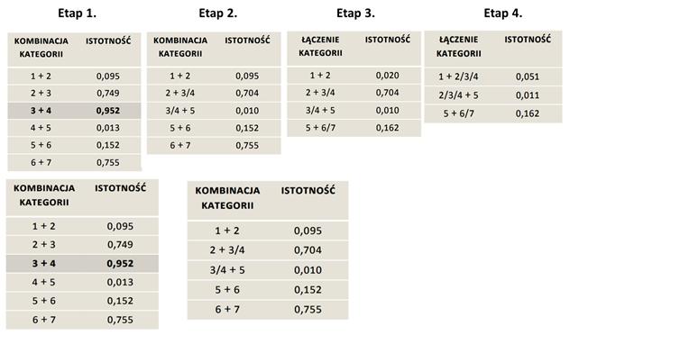 Rysunek 7. Etapy testowania i łączenia kategorii na podstawie istotności testu Chi-kwadrat